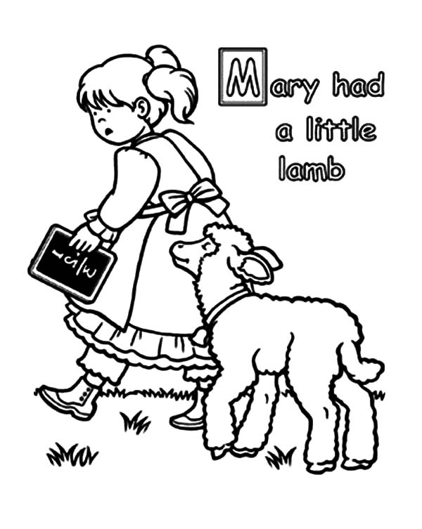 Mary Had A Little Lamb Coloring Pages For Kids
