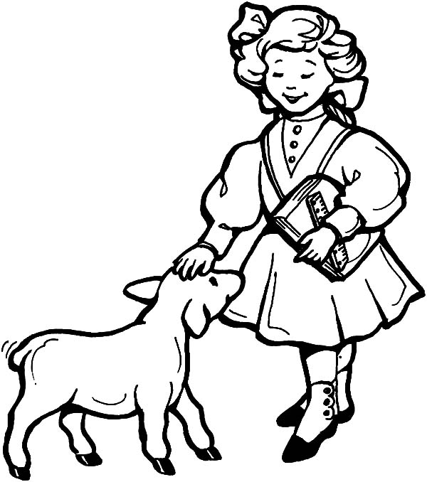 Mary Had A Little Lamb Song Coloring Pages