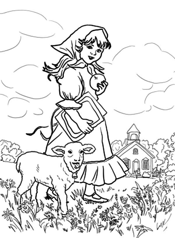 Mary Had A Little Lamb They Play At The Meadow Coloring Pages
