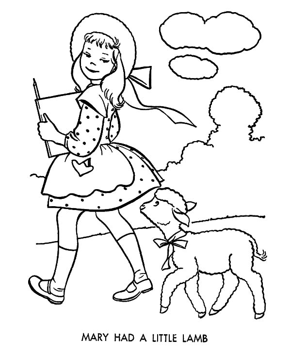 Click The Little Lamb Coloring Pages