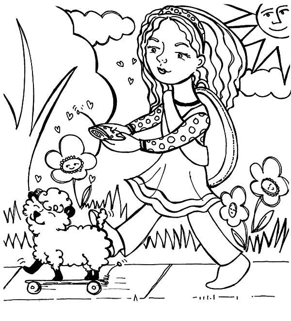Mary Had a Little Lamb, Mary Had A Little Lamb And It's A Remote Control Robot Coloring Pages: Mary Had a Little Lamb and It's a Remote Control Robot Coloring Pages