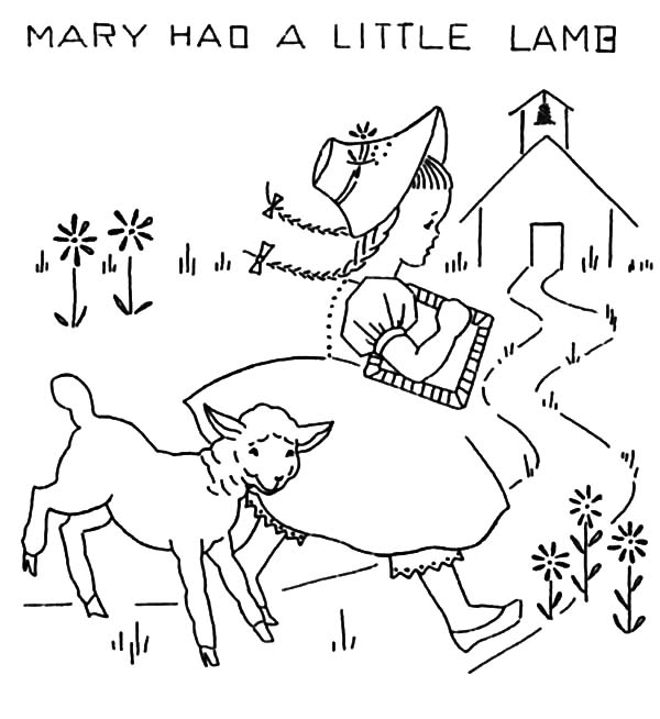 Mary Had A Little Lamb Coloring Pages For Kids Lamb