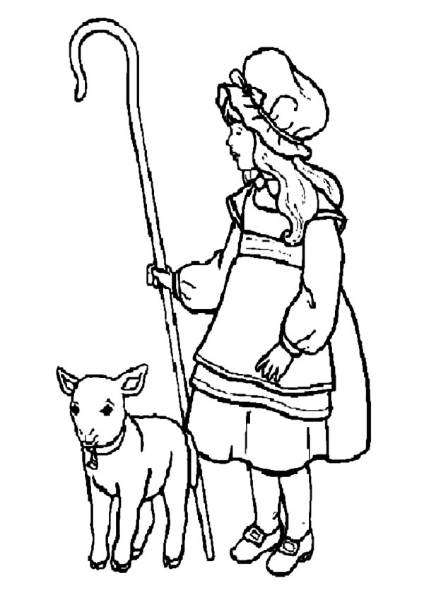 mary had a little lamb and she shepherds it coloring pages
