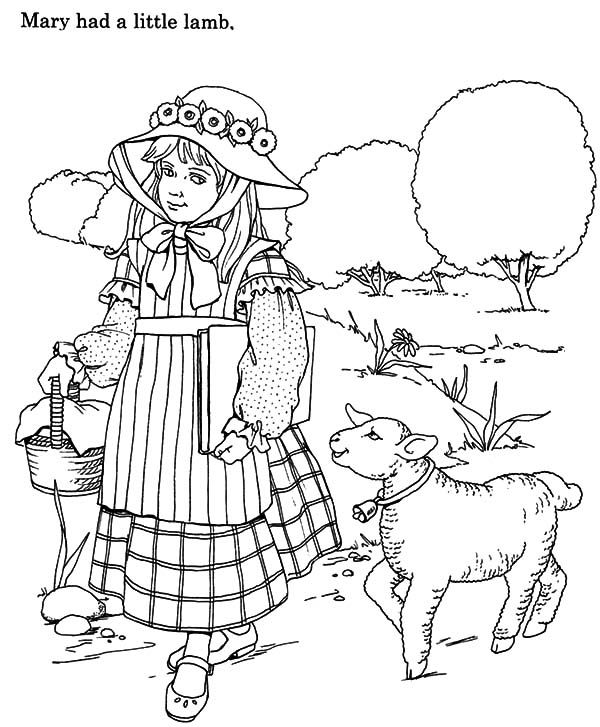 Mary Had A Little Lamb And Walking With Her Coloring Pages