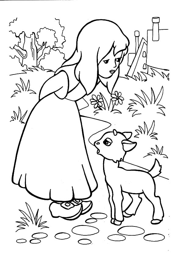 Mary Had A Little Lamb To Play With Her Coloring Pages
