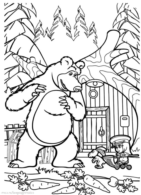 Masha And The Bear, Masha And The Bear Catching Carrot Thief Coloring Pages: Masha and the Bear Catching Carrot Thief Coloring Pages