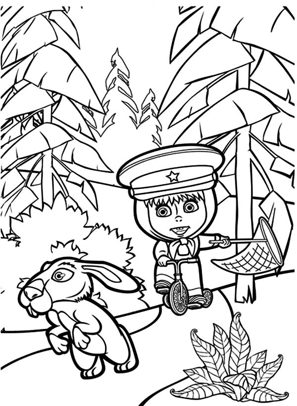 Masha and the bear chasing rabbit coloring pages