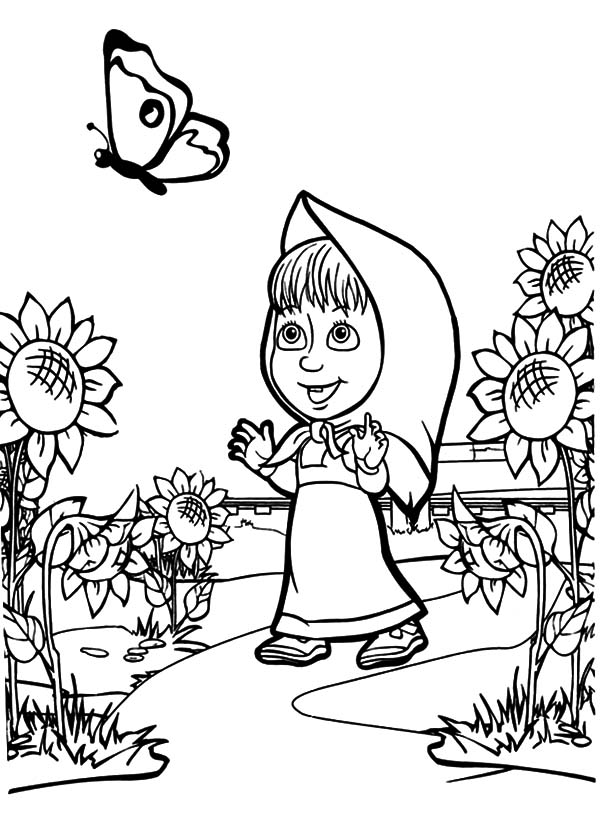Masha And The Bear, Masha And The Bear Fascinated By Butterfly Coloring Pages: Masha and the Bear Fascinated by Butterfly Coloring Pages