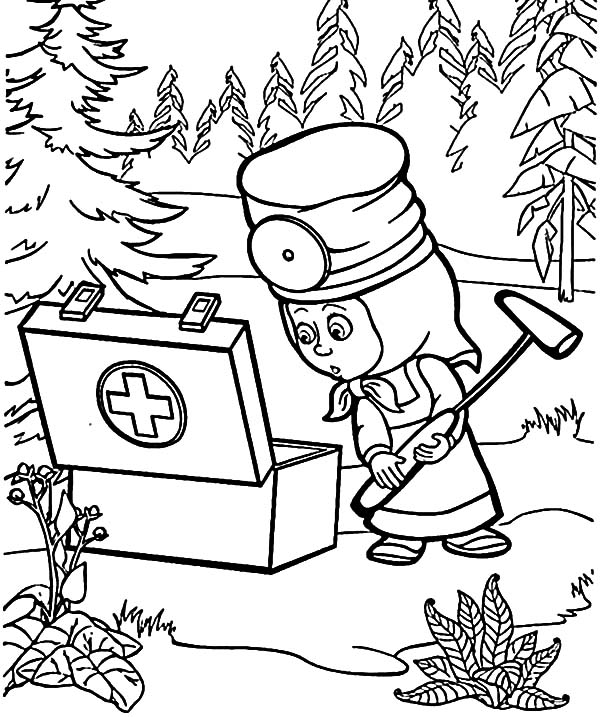 masha and the bear first aid kit coloring pages - Aid Coloring Pages Kids