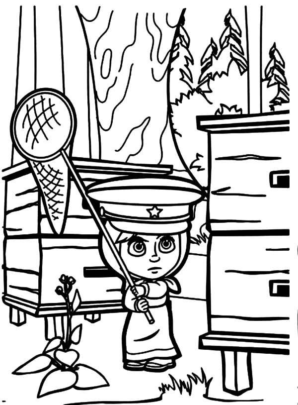 Masha And The Bear, Masha And The Bear Going To Catch Butterfly Coloring Pages: Masha and the Bear Going to Catch Butterfly Coloring Pages