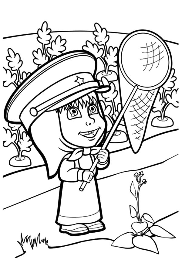 Masha And The Bear, Masha And The Bear Holding Net To Catch Butterfly Coloring Pages: Masha and the Bear Holding Net to Catch Butterfly Coloring Pages