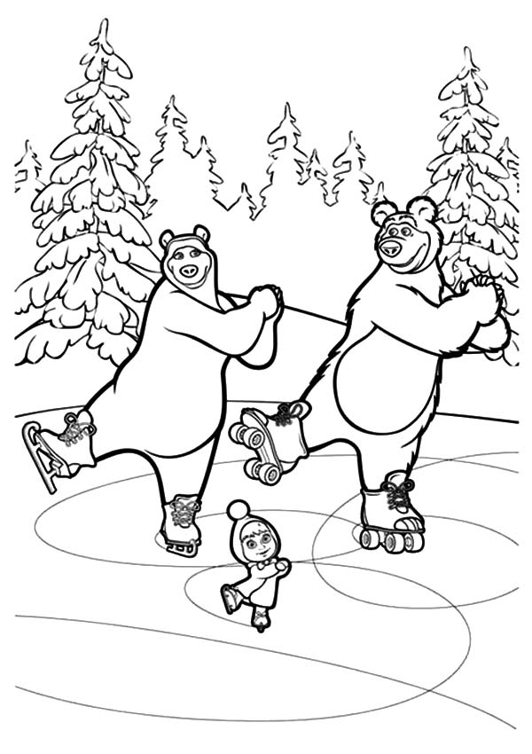Masha And The Bear, Masha And The Bear Ice Skating With Bear And His Girlfriend Coloring Pages: Masha and the Bear Ice Skating with Bear and His Girlfriend Coloring Pages