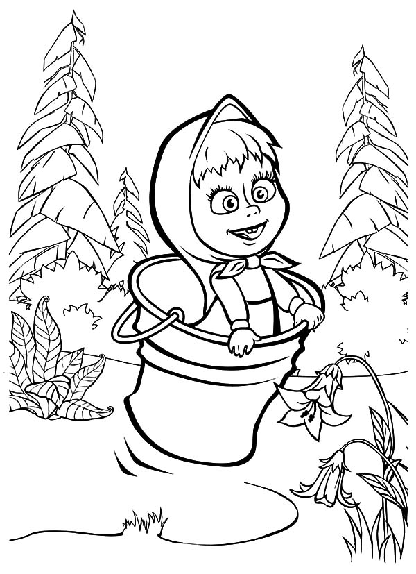 Masha And The Bear Jumping On Bucket Coloring Pages