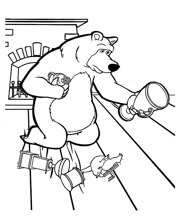 Masha And The Bear Picking Up His Trophy Coloring Pages
