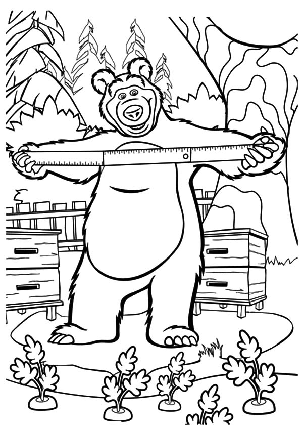 Masha And The Bear Planting Carrot Coloring Pages