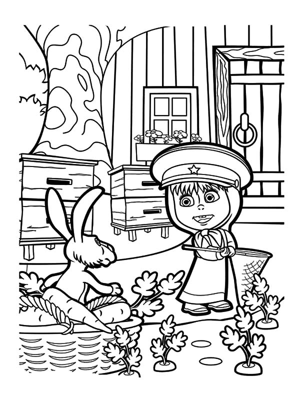 Masha And The Bear Rabbit Caught In Act Coloring Pages