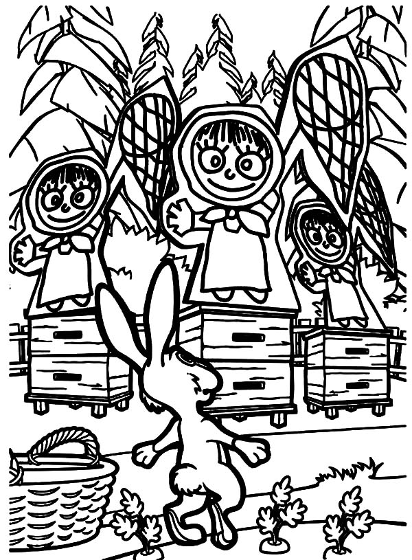 Masha and the bear rabbit surprised to see pictures of masha coloring pages