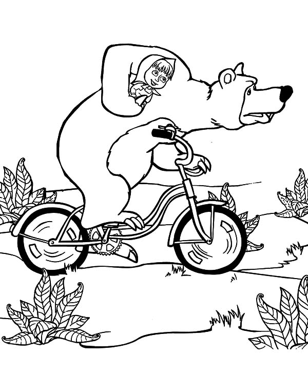 masha and the bear riding bike with bear coloring pages - Bear Pictures To Color