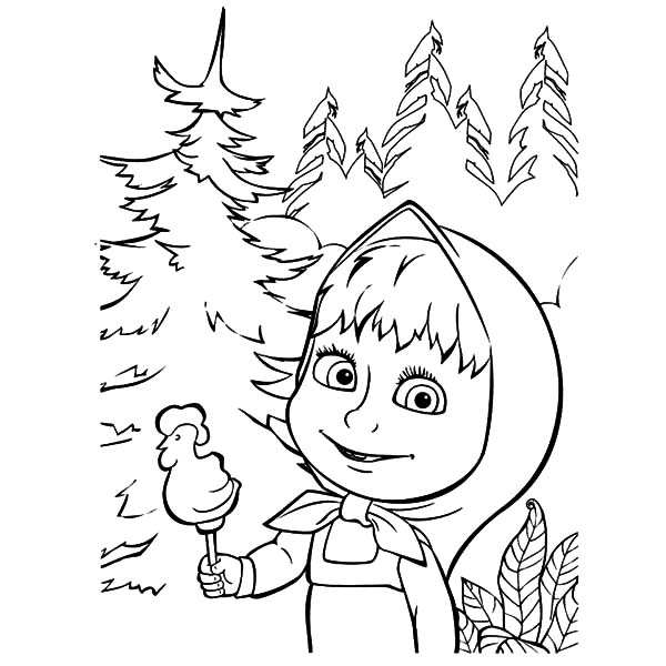 Masha And The Bear Rooster Shape Delicious Candy Coloring Pages