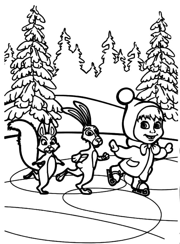 Masha and the Bear Skiing in Winter Season Coloring Pages Color Luna