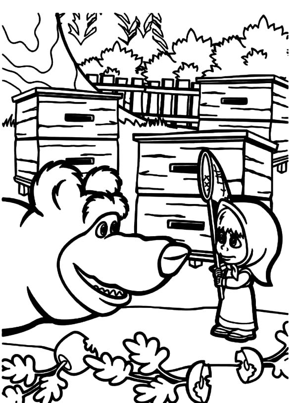 Masha And The Bear Talking To Coloring Pages