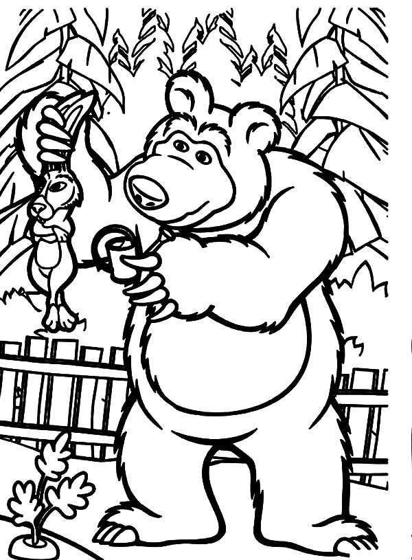 Masha and the bear told rabbit to stay away from his garden coloring pages