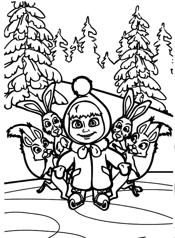 Masha and the bear and friends coloring pages