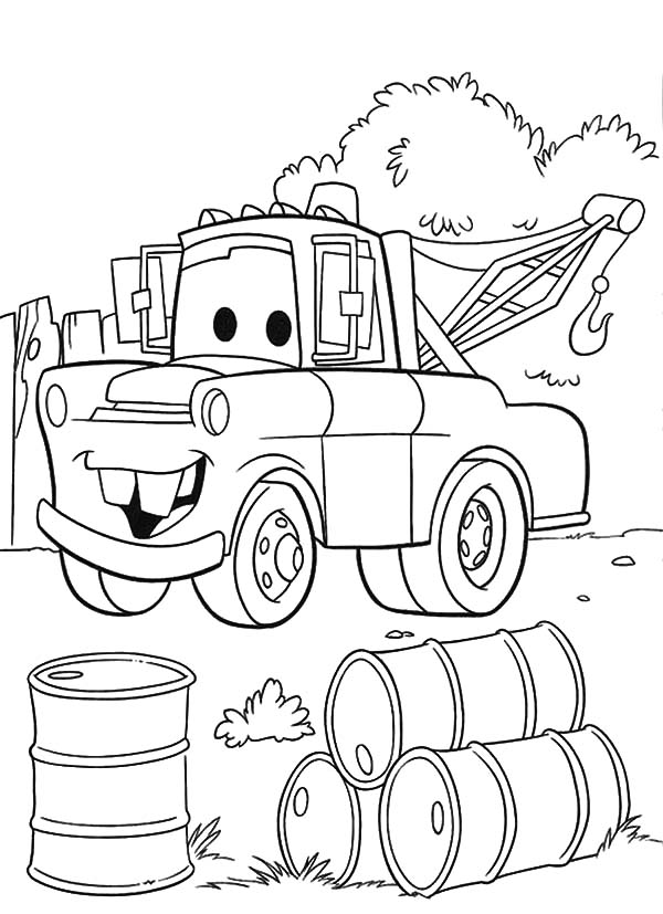 Mater, Mater Found Empty Drums Coloring Pages: Mater Found Empty Drums Coloring Pages