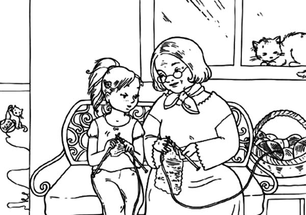 Grandmother, : Me Knitting with Grandmother Coloring Pages