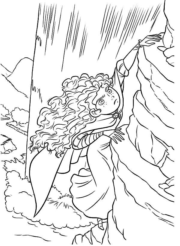 Merida, Merida Climb Vertical Cliff Coloring Pages: Merida Climb Vertical Cliff Coloring Pages