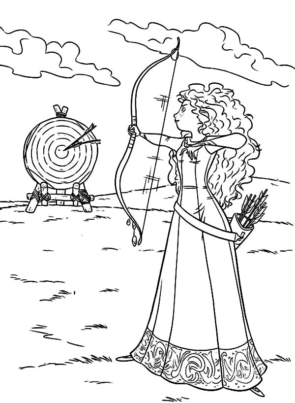 Merida, Merida Hit Her Target Coloring Pages: Merida Hit Her Target Coloring Pages