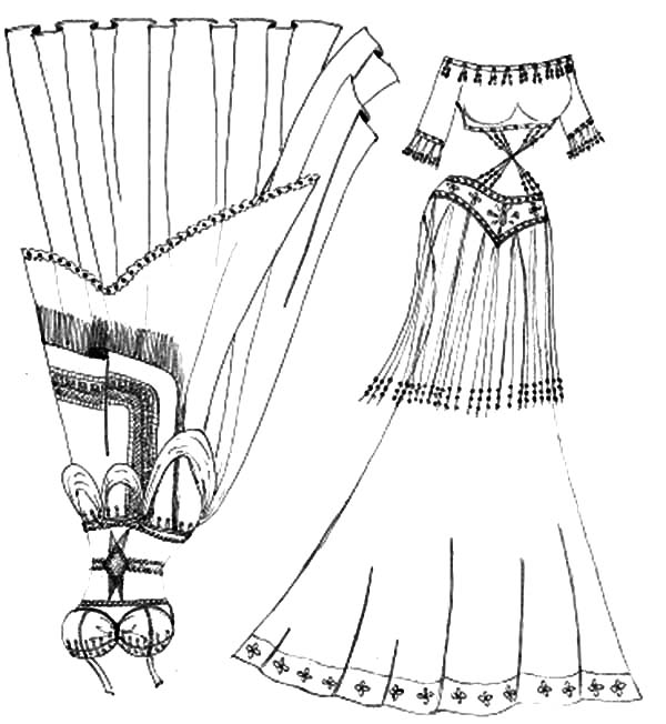 Mexican Dress, Mexican Belly Dancer Dress Coloring Pages: Mexican Belly Dancer Dress Coloring Pages
