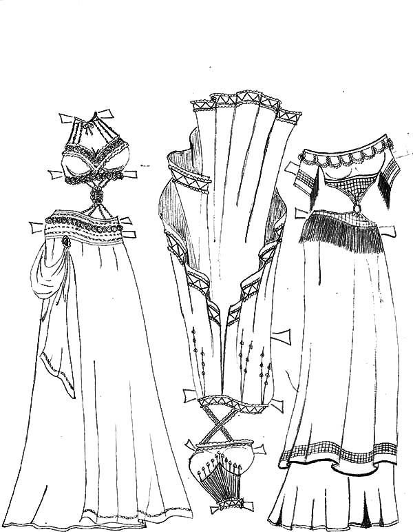 Mexican Dress, Mexican Belly Dancer Dress Set Coloring Pages: Mexican Belly Dancer Dress Set Coloring Pages
