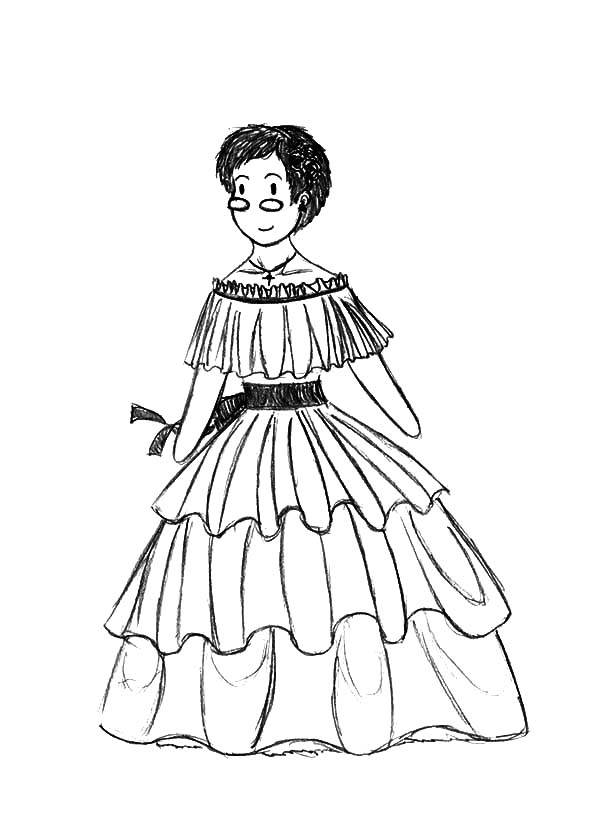 Mexican Dress Coloring Pages For Kids Color Luna