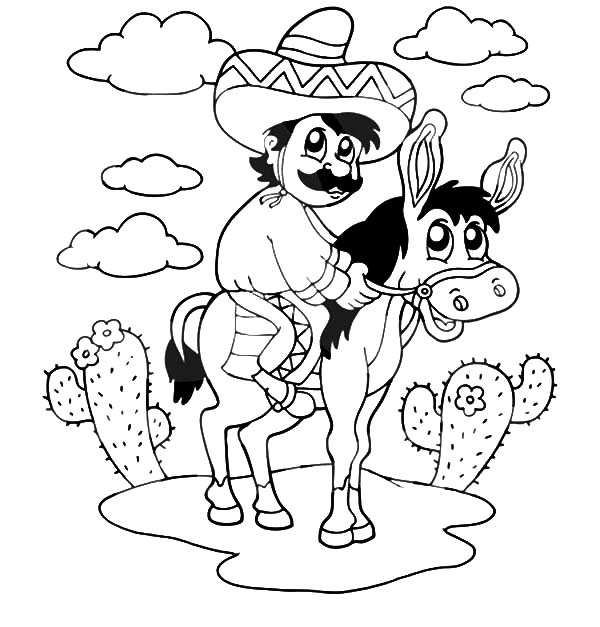 Mexican Donkey, Mexican Man Sitting On A Donkey Coloring Pages: Mexican Man Sitting on a Donkey Coloring Pages