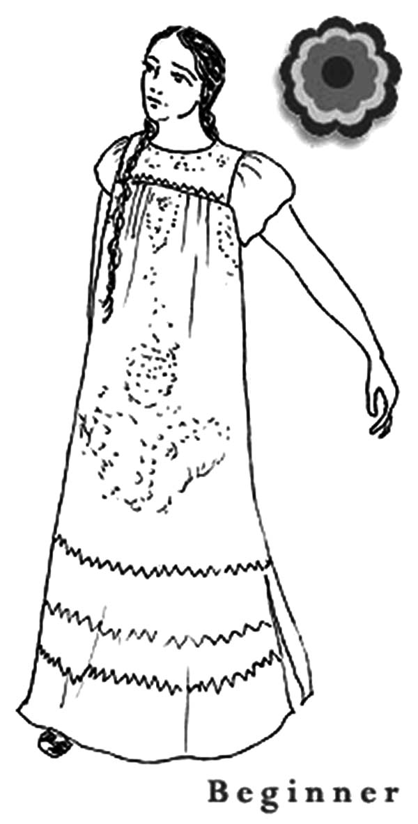 Mexican Night Dress Coloring Pages