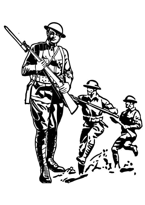 Military Army Attack Coloring Pages