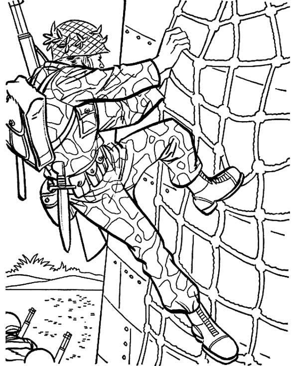 Military Drill Wall Climbing Coloring Pages