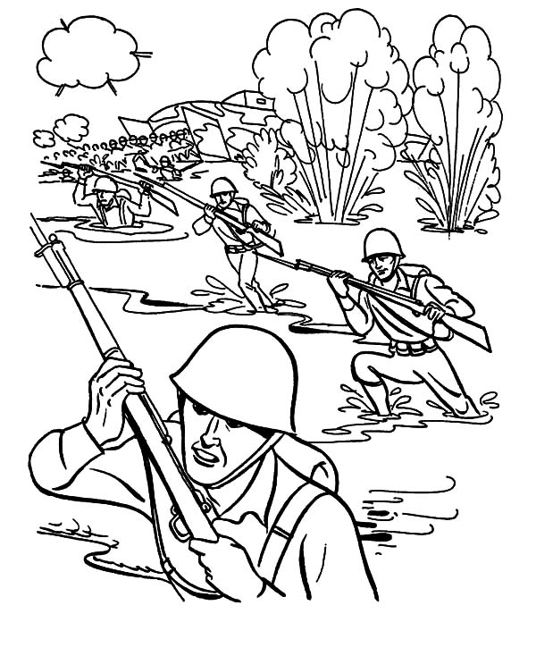 Military, Military Drill In Mud Pool Coloring Pages: Military Drill in Mud Pool Coloring Pages