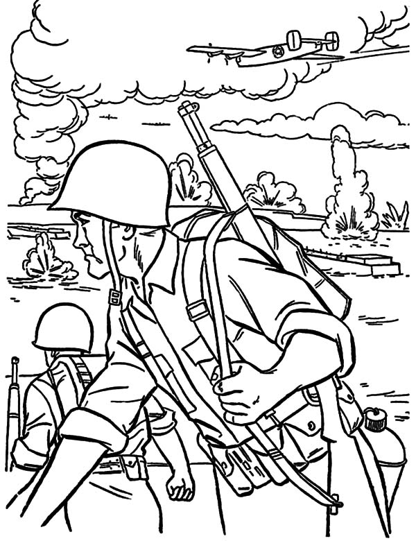 Military Forces On War Field Coloring Pages