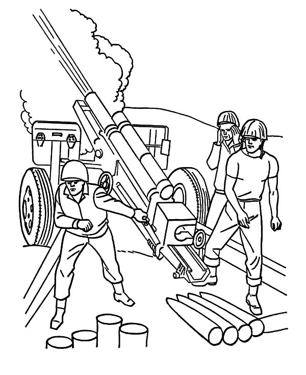 Military, Military Heavy Artilery Coloring Pages: Military Heavy Artilery Coloring Pages