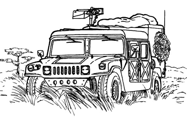 Military Jeep Patrol Coloring Pages Color Luna