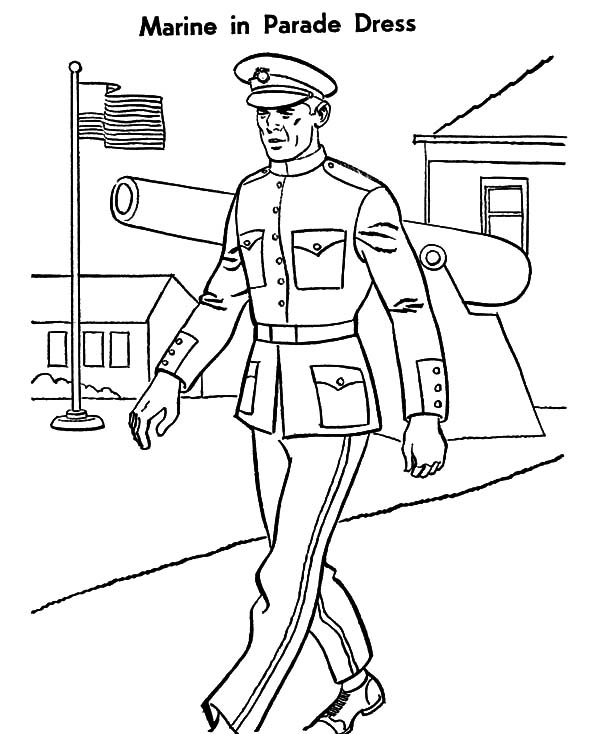 Military, Military Marine Parade Dress Coloring Pages: Military Marine Parade Dress Coloring Pages