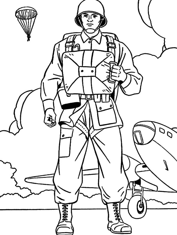 Military Parachutist Coloring Pages Military Parachutist Coloring