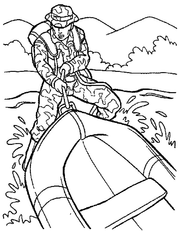 military rubber boat coloring pages