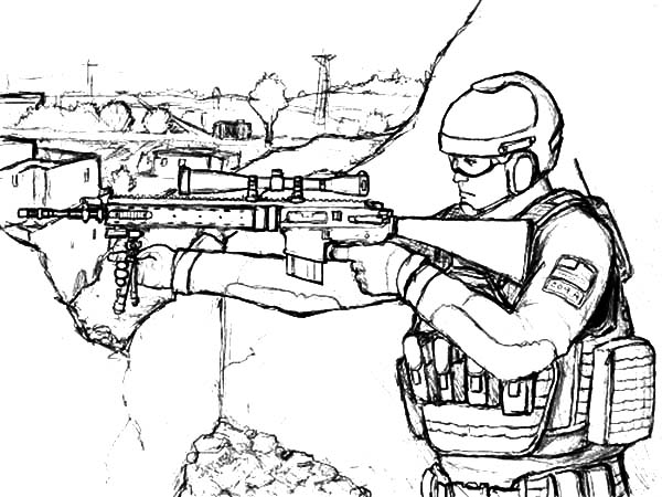 Military Sniper Standing on His Spot Coloring Pages | Color Luna
