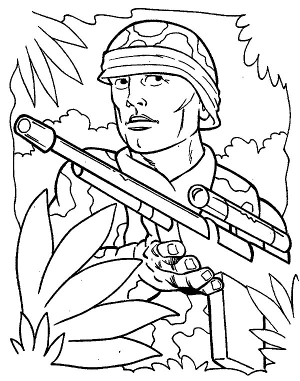 Military Soldier Guerilla in the Jungle Coloring Pages Color Luna