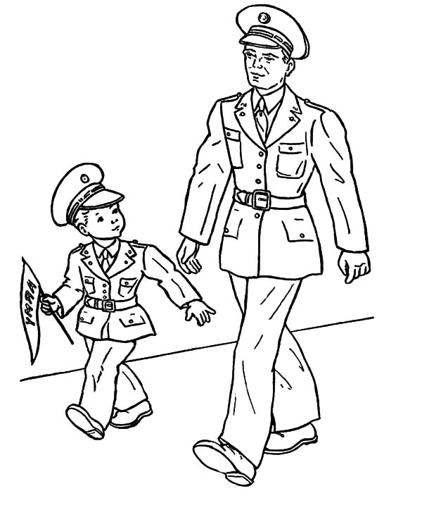 Military Soldier And His Son Coloring Pages
