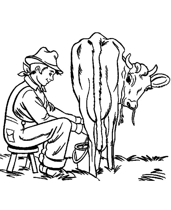 milking cow farming activity coloring pages