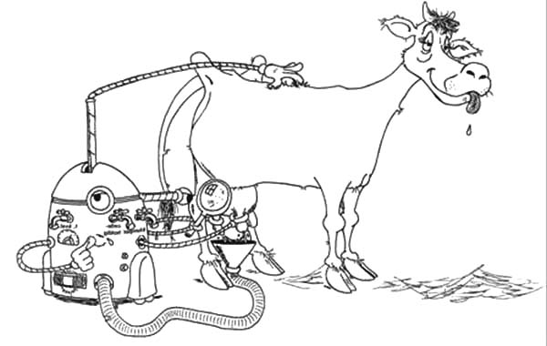 Milking Cow, Milking Cow Robot Coloring Pages: Milking Cow Robot Coloring Pages